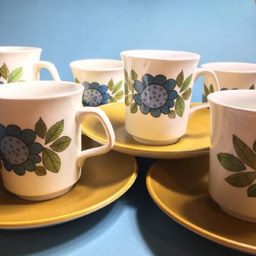 J & G Meakin Studio- 6 x  Coffee Cups and Saucer Duos  - Topic 60s
